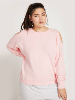 Lived In Lounge Crew Sweatshirt In Blush Pink, Front Extended Size View