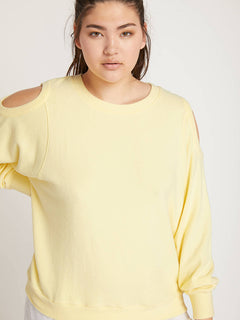 Lived In Lounge Crew Sweatshirt In Faded Lemon, Front Extended Size View