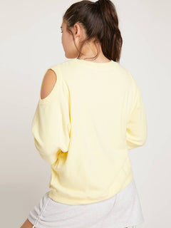 Lived In Lounge Crew Sweatshirt In Faded Lemon, Back Extended Size View
