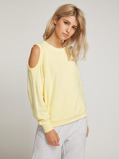Lived In Lounge Crew Sweatshirt In Faded Lemon, Front View