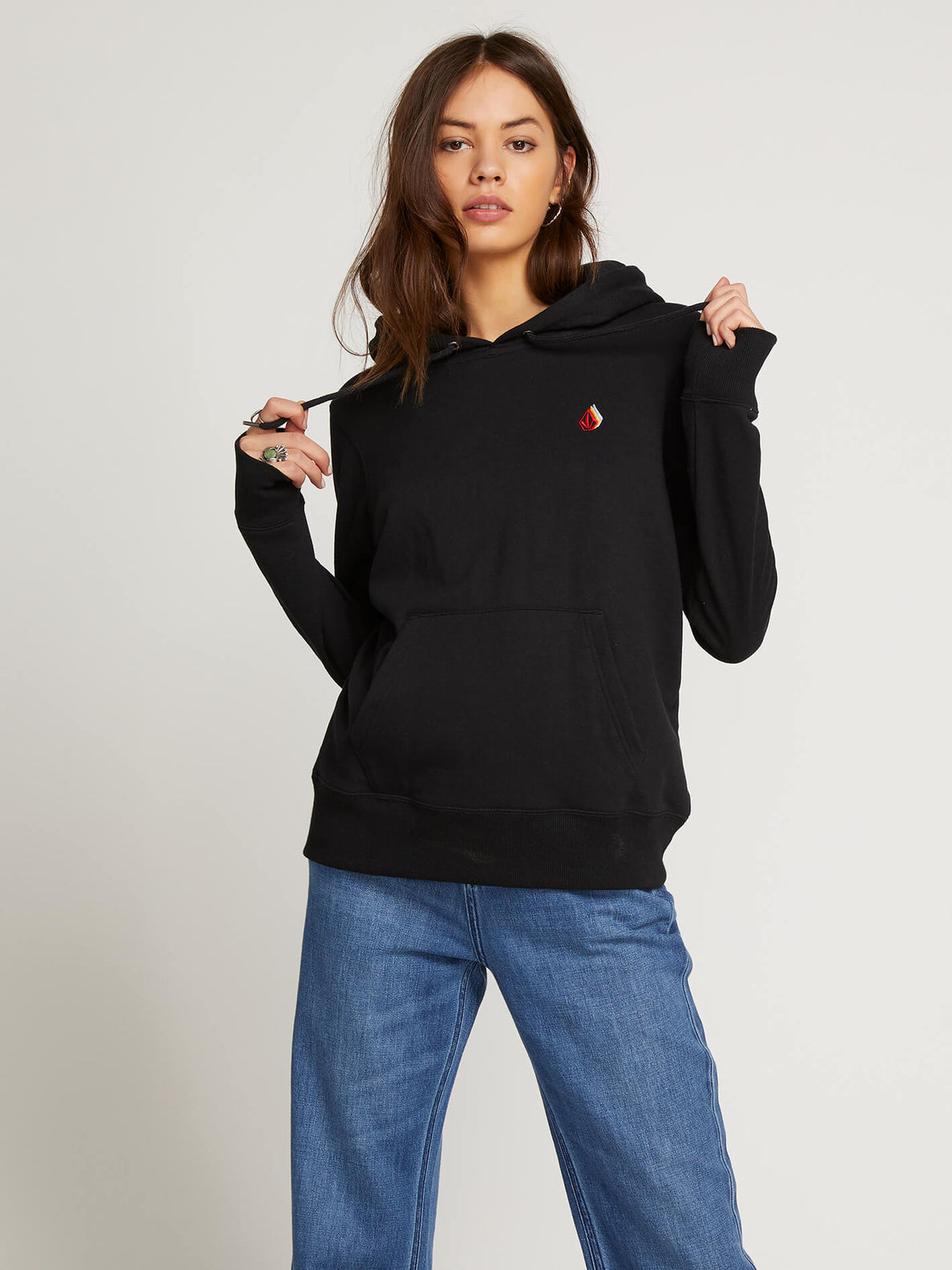 Vol Stone Hoodie In Black, Front View
