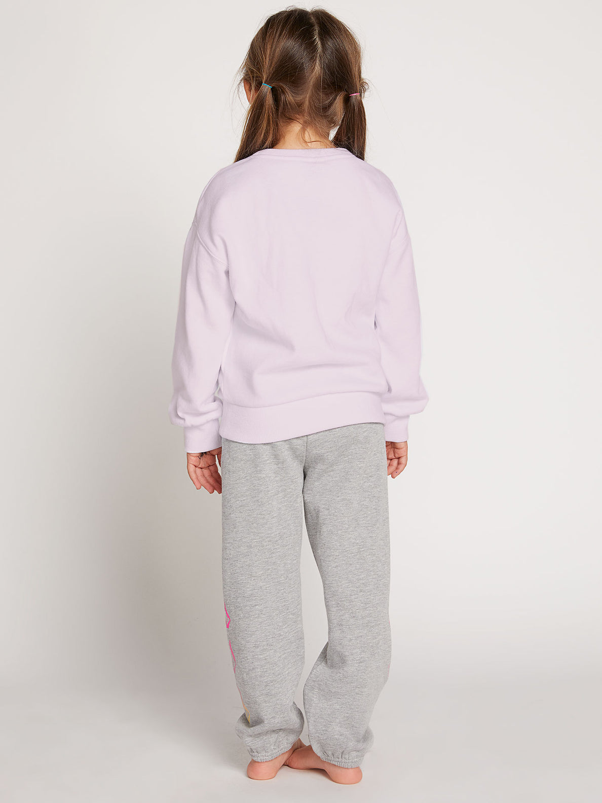 Little Girls Darting Traffic Crew Sweatshirt In Blush Pink, Back View