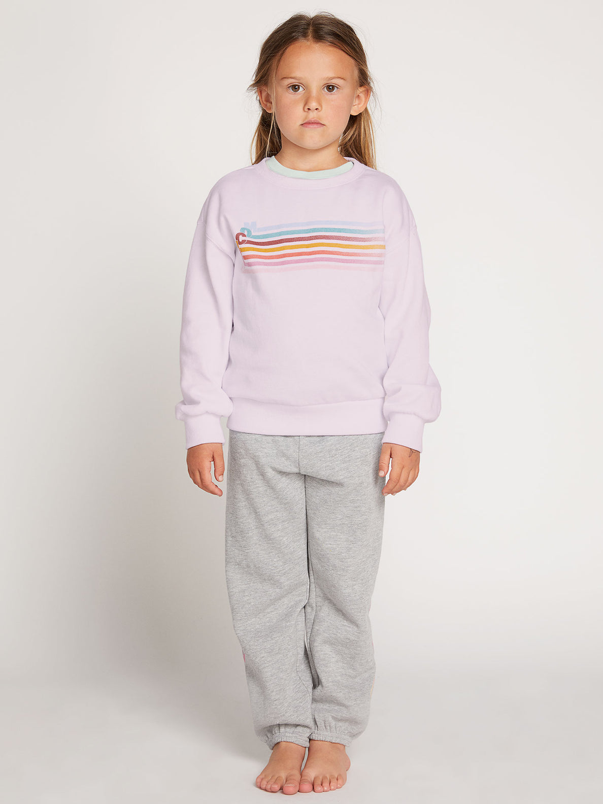 Little Girls Darting Traffic Crew Sweatshirt In Blush Pink, Front View