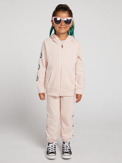 Little Girls Zippety Zip Sweatshirt In Mellow Rose, Alternate View