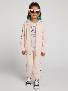 Little Girls Zippety Zip Sweatshirt In Mellow Rose, Front View