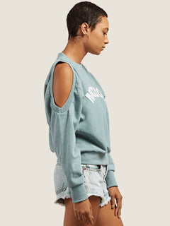 Edit N Crop Crew Sweatshirt In Aqua, Alternate View