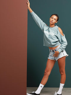 Edit N Crop Crew Sweatshirt In Aqua, Second Alternate View