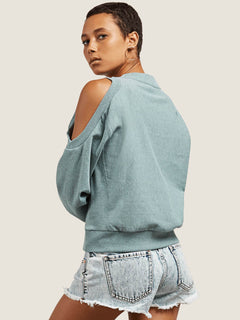 Edit N Crop Crew Sweatshirt In Aqua, Back View