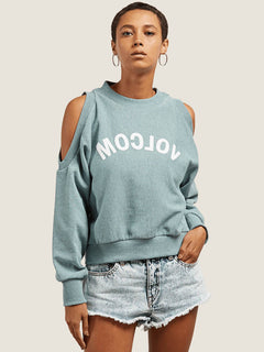 Edit N Crop Crew Sweatshirt In Aqua, Front View