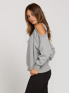 Edit N Crop Crew Sweatshirt In Heather Grey, Alternate View