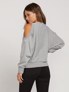 Edit N Crop Crew Sweatshirt In Heather Grey, Back View