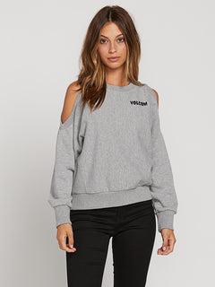 Edit N Crop Crew Sweatshirt In Heather Grey, Front View