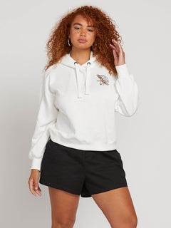 Knew Wave Hoodie In Star White, Front Plus Size View