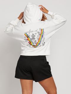 Knew Wave Hoodie In Star White, Back Plus Size View