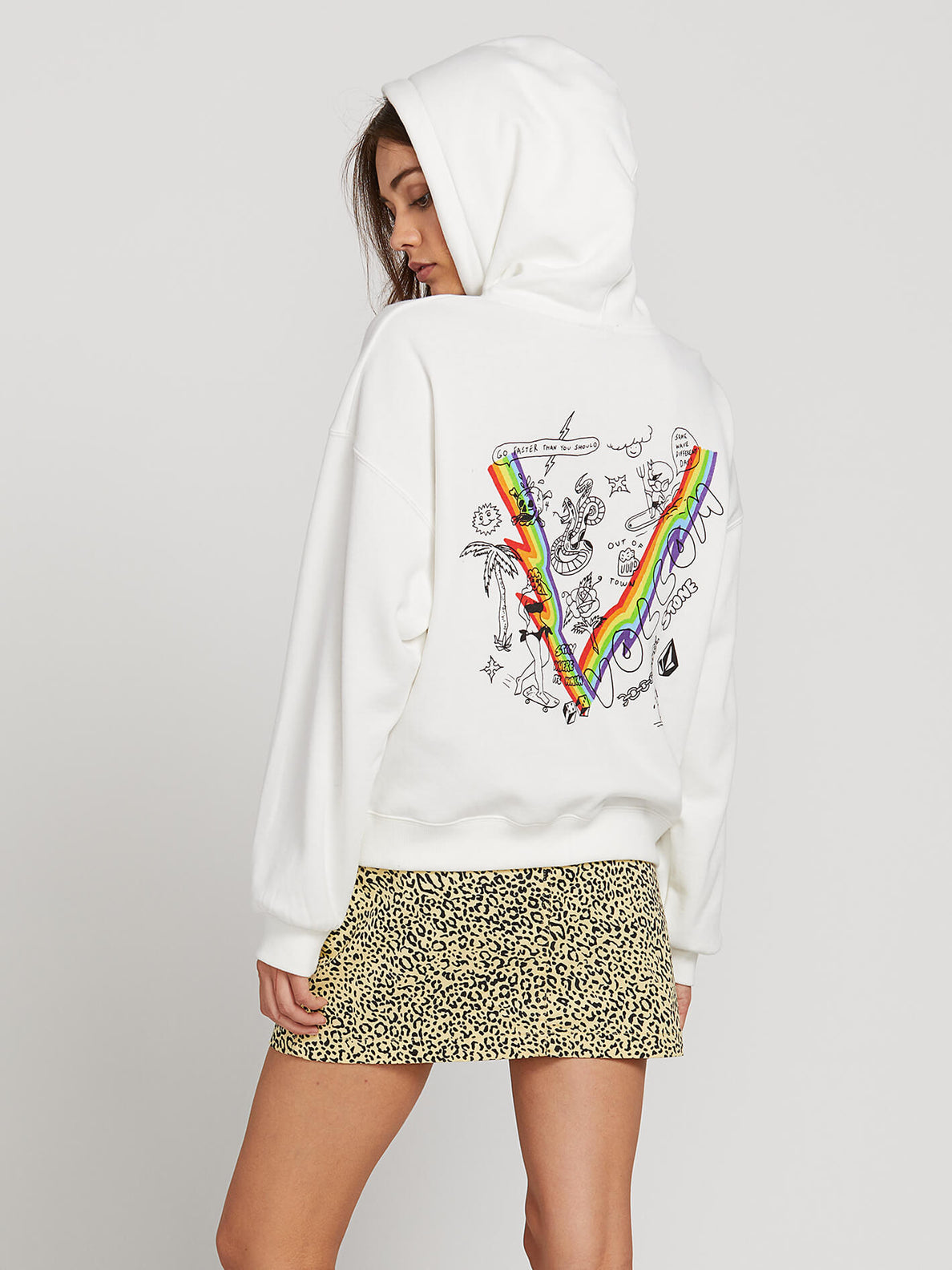 Knew Wave Hoodie In Star White, Back View