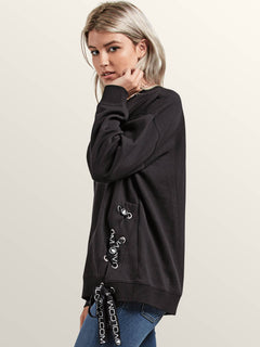 Lacy Crew Sweatshirt In Black, Alternate View