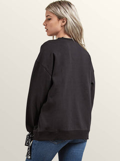 Lacy Crew Sweatshirt In Black, Back View