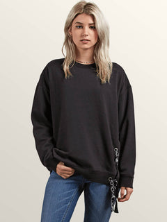 Lacy Crew Sweatshirt In Black, Front View