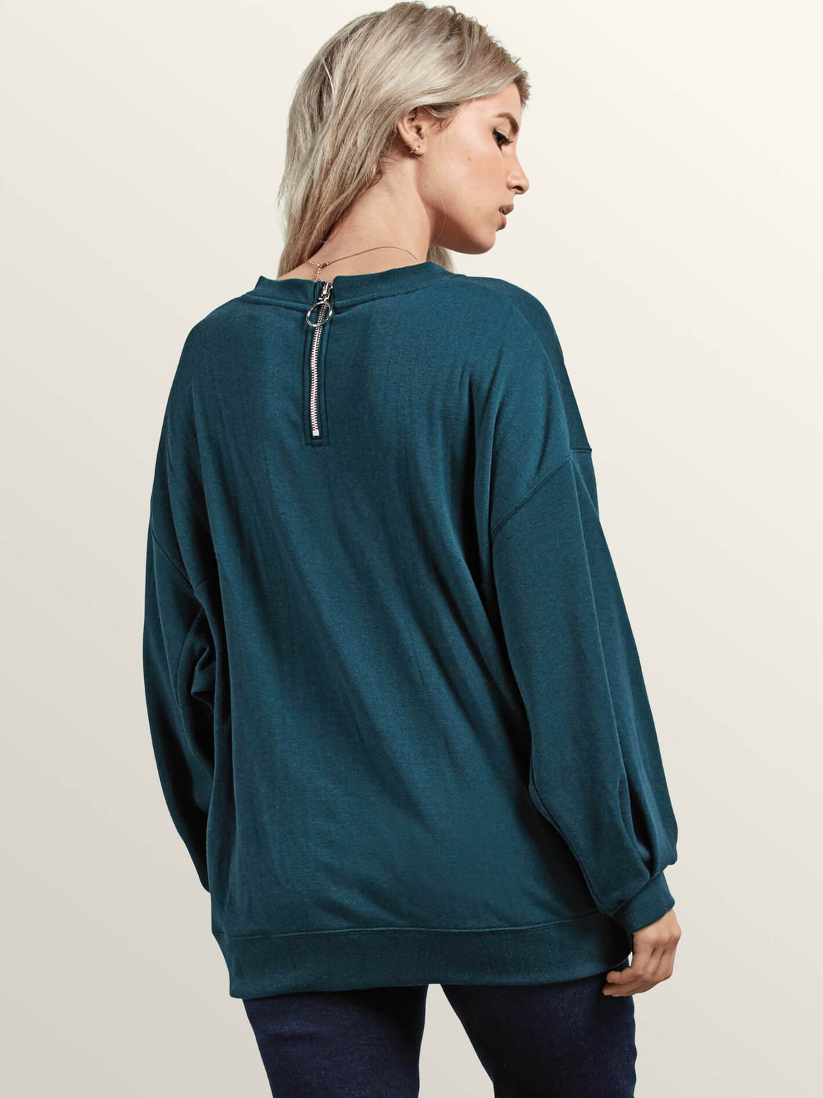 Darting Traffic Crew Sweatshirt In Evergreen, Back View