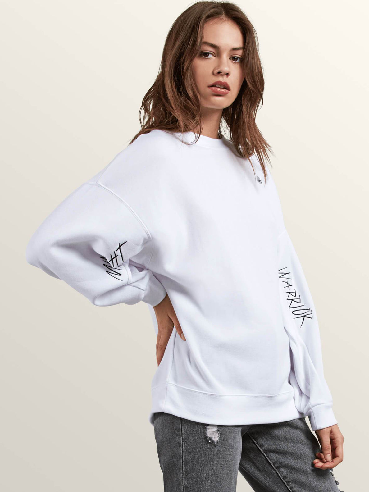 Darting Traffic Crew Sweatshirt In White, Alternate View