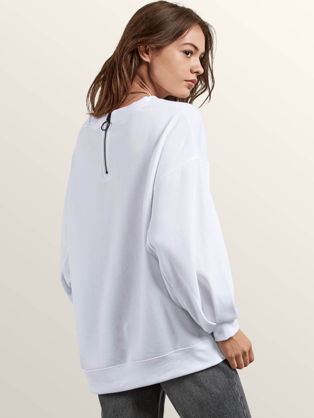 Darting Traffic Crew Sweatshirt In White, Back View