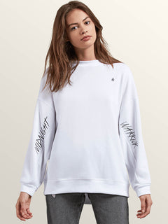 Darting Traffic Crew Sweatshirt In White, Front View