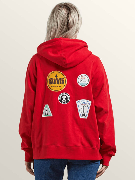 Travel Ban Hoodie In Rad Red, Back View