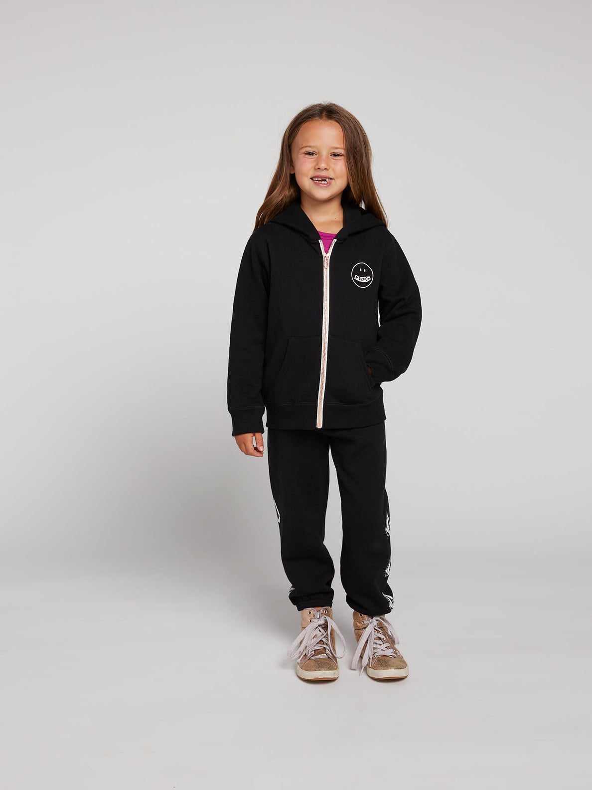 Little Girls Zippety Zip Hoodie In Black Combo, Front View