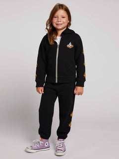 Little Girls Zippety Zip Hoodie In Black, Front View