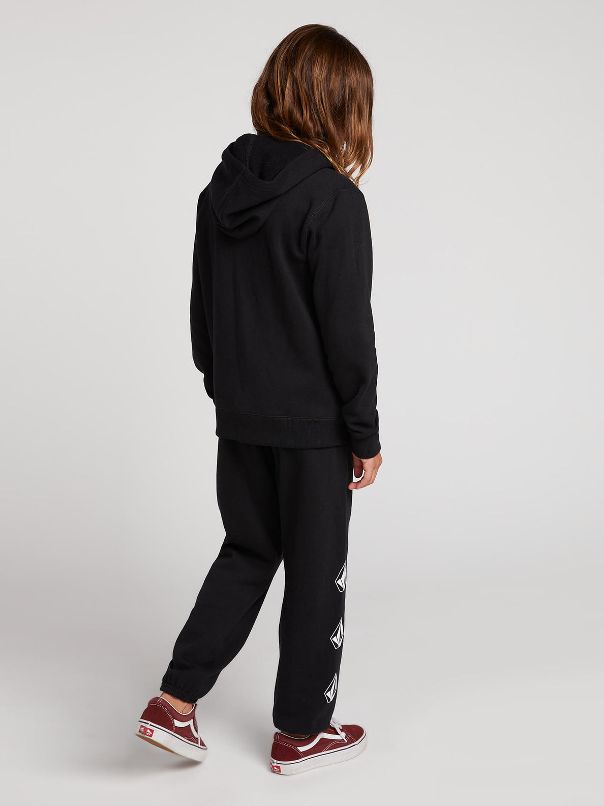 Big Girls Zippety Zip Hoodie In Black Combo, Back View