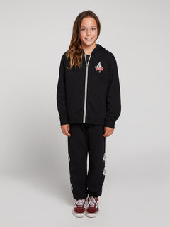 Big Girls Zippety Zip Hoodie In Black Combo, Front View