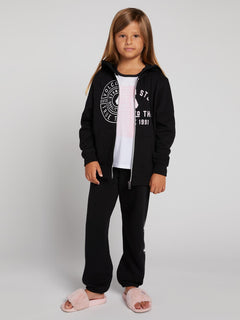 Big Girls Zippety Zip Hoodie In Black, Alternate View