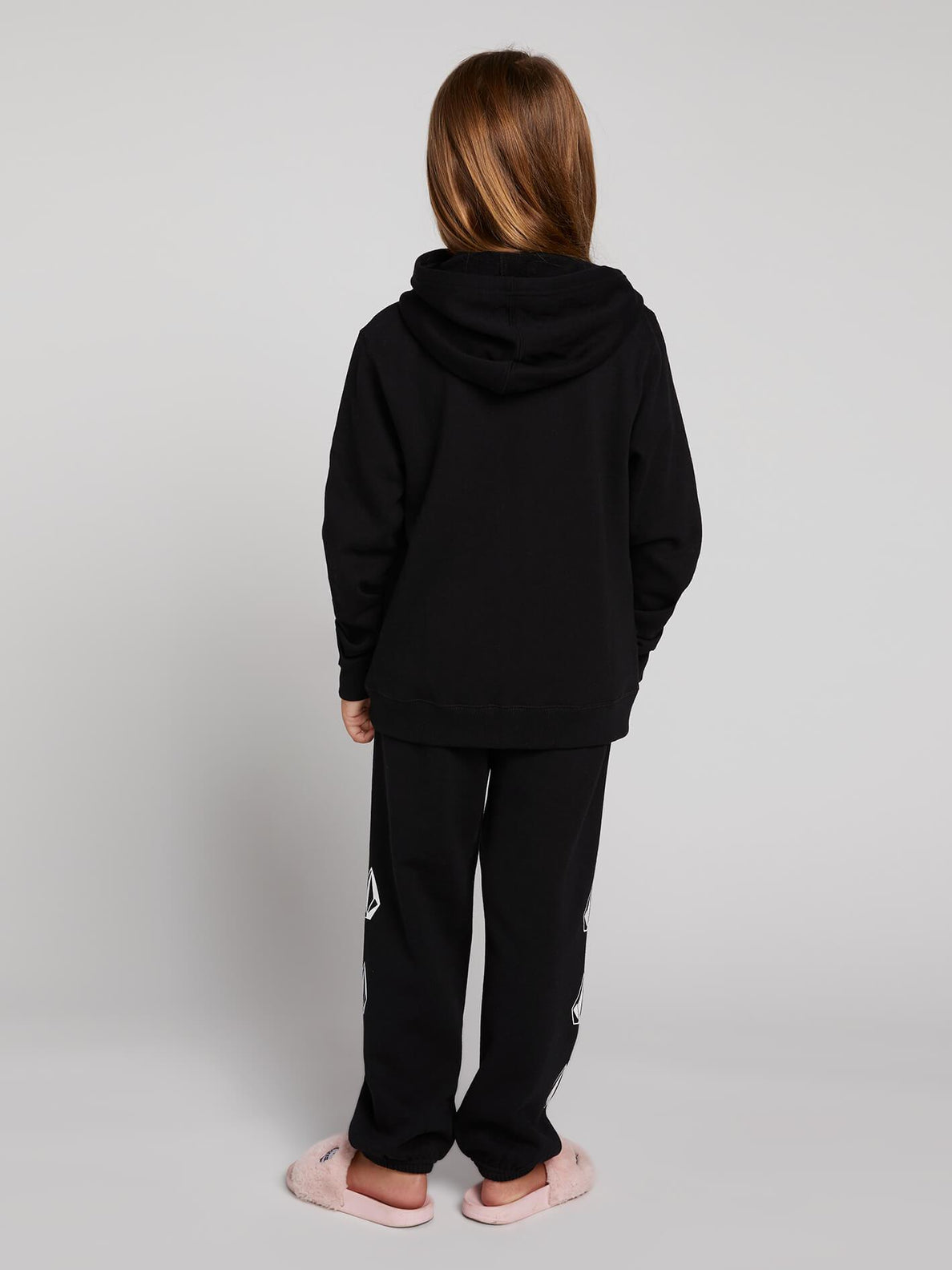 Big Girls Zippety Zip Hoodie In Black, Back View