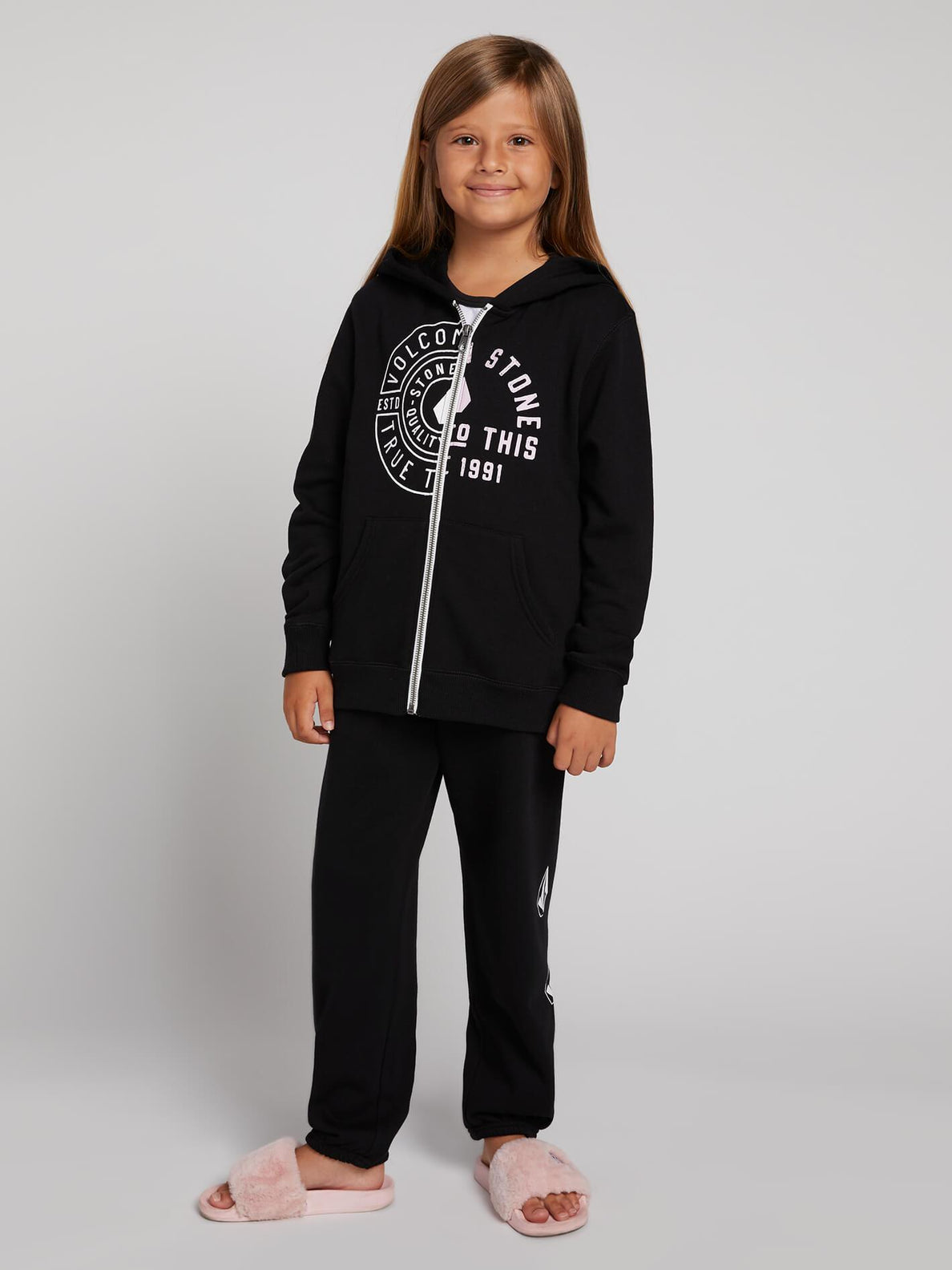 Big Girls Zippety Zip Hoodie In Black, Front View