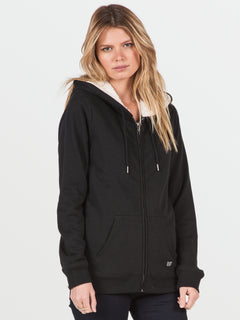 Lived In Sherpa Zip (B3141613_BLK) [F]