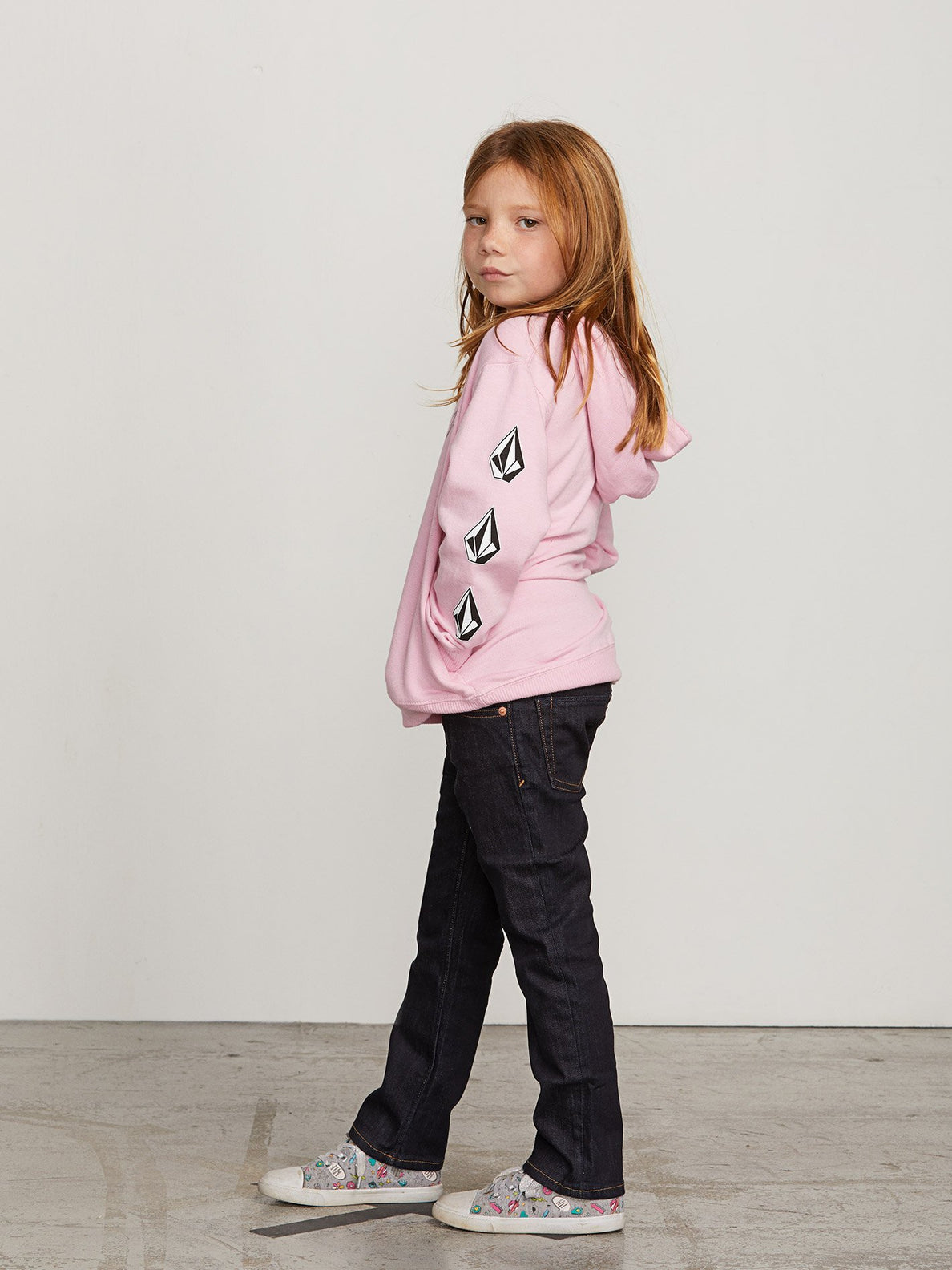 Little Girls Arm Candy Hoodie In Dusty Rose, Back View