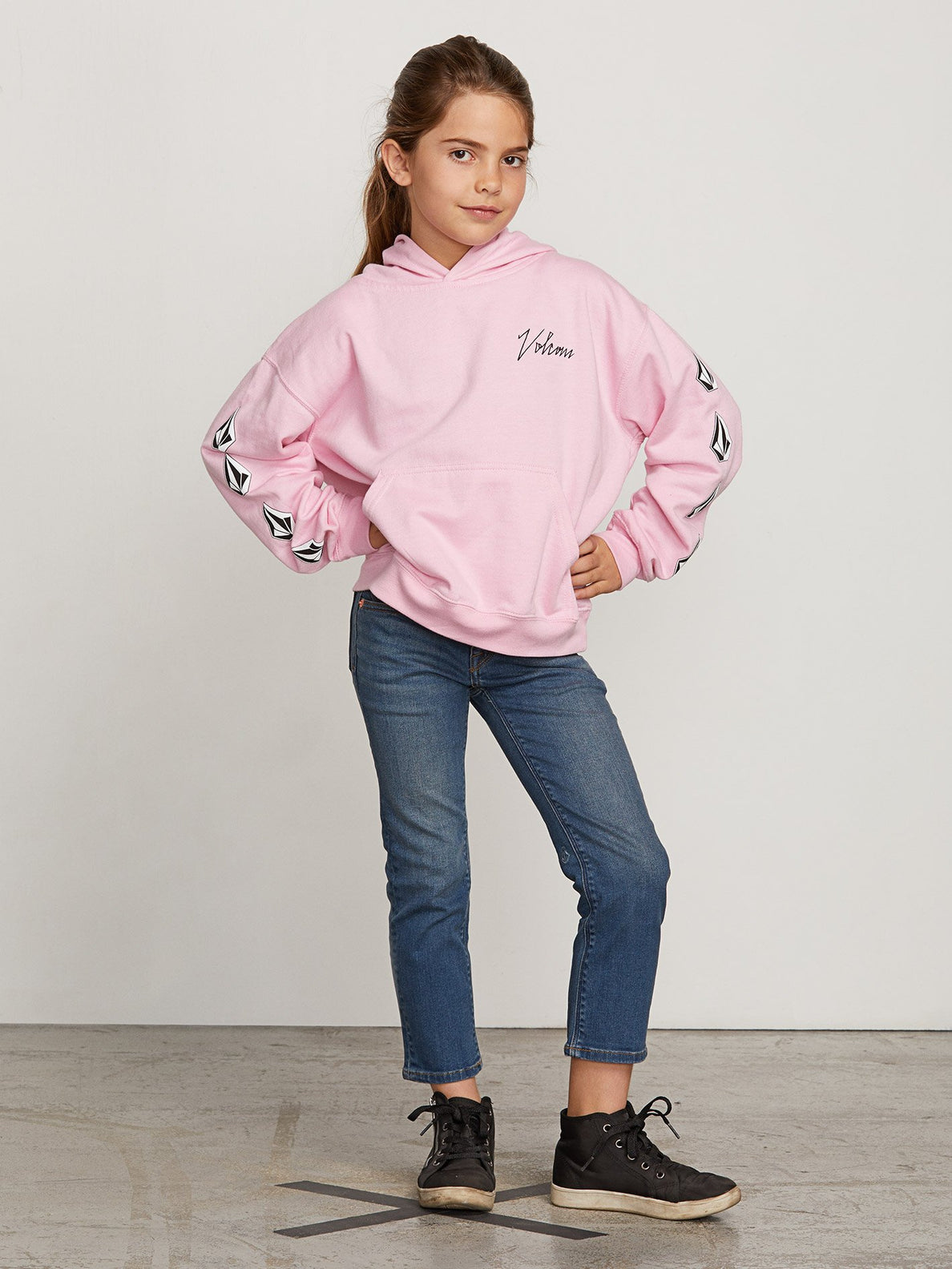 Big Girls Arm Candy Hoodie In Dusty Rose, Front View