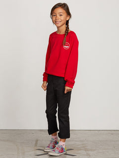 Big Girls Barrel Out Crew Sweatshirt In Rad Red, Back View
