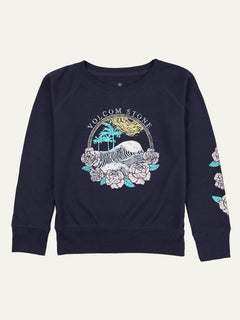 Big Girls Barrel Out Crew Sweatshirt In Sea Navy, Alternate View