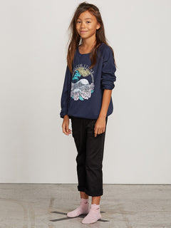 Big Girls Barrel Out Crew Sweatshirt In Sea Navy, Front View