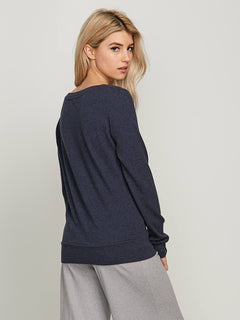Lived In Lounge Crew Sweatshirt In Sea Navy, Back View