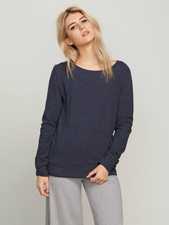Lived In Lounge Crew Sweatshirt In Sea Navy, Front View