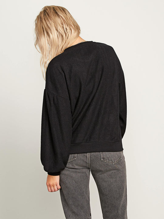 Fleece Pleaze Crew Sweatshirt In Black, Back View
