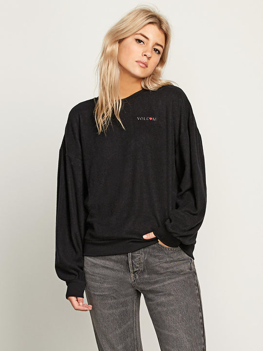Fleece Pleaze Crew Sweatshirt In Black, Front View