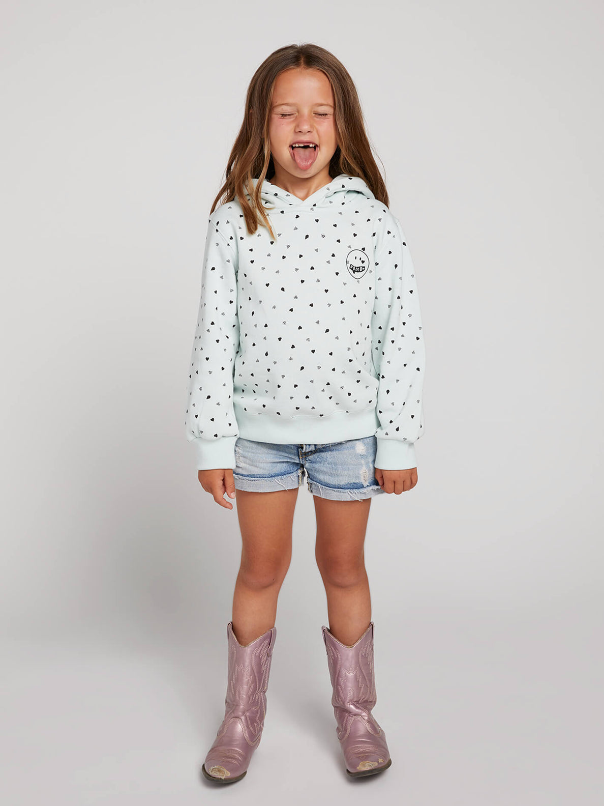 Little Girls Knew Wave Hoodie In Smokey Blue, Front View