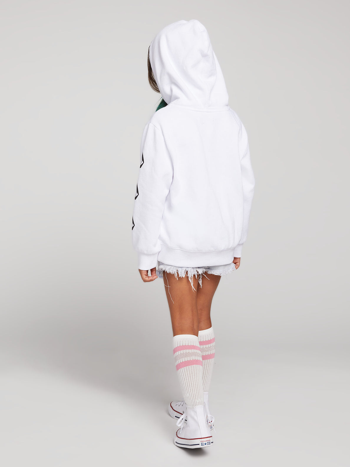 Little Girls Knew Wave Hoodie In White, Back View