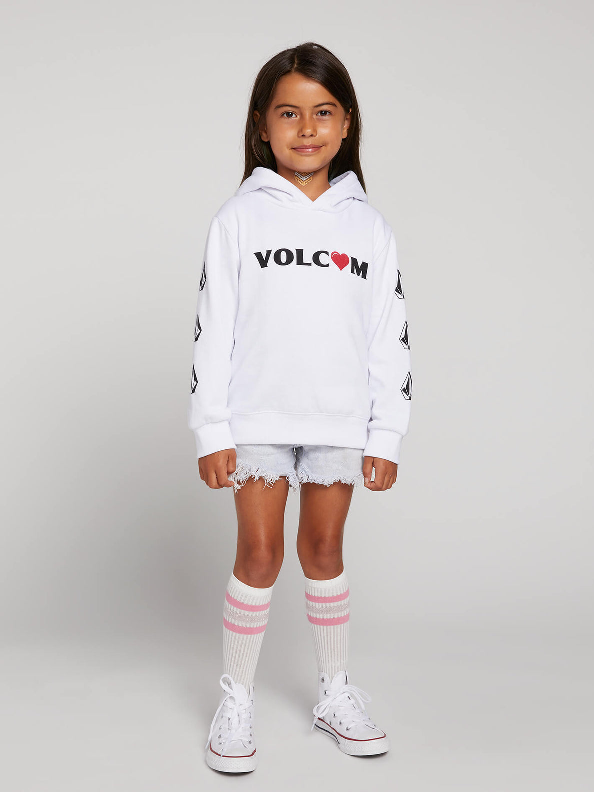 Little Girls Knew Wave Hoodie In White, Front View