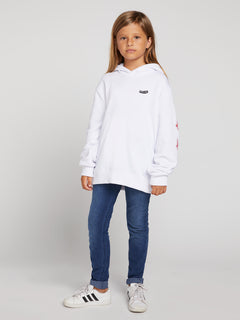 Big Girls Knew Wave Hoodie In White, Front View