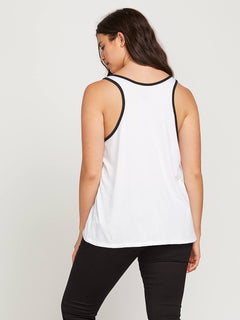 Stn Stax Ringer Tank In White, Back Extended Size View