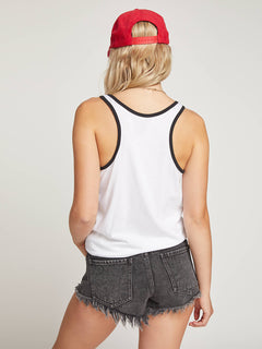 Stn Stax Ringer Tank In White, Back View